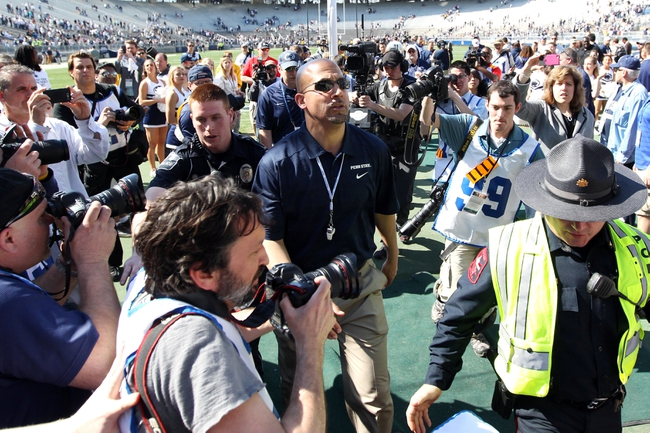 Apr 12, 2014; State College, PA, USA; Penn State Nittany Lions head coach James Franklin walks off of the field following the completion of the Blue White spring game at Beaver Stadium. The Blue team defeated the White team 37-0. Mandatory Credit: Matthew O'Haren-USA TODAY Sports