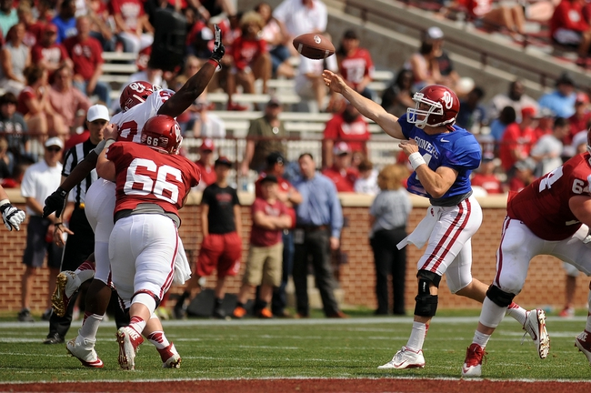 Apr 12, 2014; Norman, OK, USA; Oklahoma Sooners quarterback Cody Thomas (14) passes the ball during the spring game at Gaylord Family Oklahoma Memorial Stadium. Mandatory Credit: Mark D. Smith-USA TODAY Sports