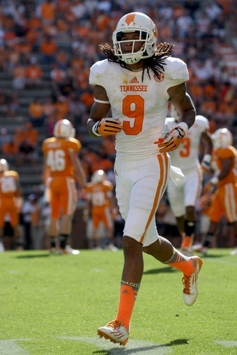 Apr 12, 2014; Knoxville, TN, USA; Tennessee Volunteers wide receiver  Von Pearson (9) runs on the field during the spring game at Neyland Stadium. Mandatory Credit: Randy Sartin-USA TODAY Sports