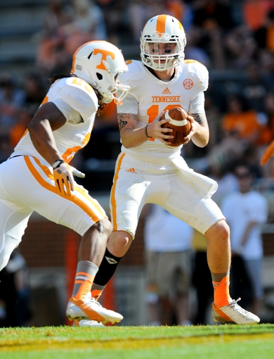 Apr 12, 2014; Knoxville, TN, USA; Tennessee Volunteers quarterback Riley Ferguson (10) holds the ball during the spring game at Neyland Stadium. Mandatory Credit: Randy Sartin-USA TODAY Sports