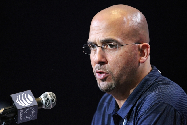 Apr 12, 2014; State College, PA, USA; Penn State Nittany Lions head coach James Franklin answers questions from the media following the completion of the Blue White spring game at Beaver Stadium. The Blue team defeated the White team 37-0. Mandatory Credit: Matthew O'Haren-USA TODAY Sports
