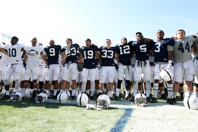 Apr 12, 2014; State College, PA, USA; Penn State Nittany Lions players sing the alma mater following the completion of the Blue White spring game at Beaver Stadium. The Blue team defeated the White team 37-0. Mandatory Credit: Matthew O'Haren-USA TODAY Sports
