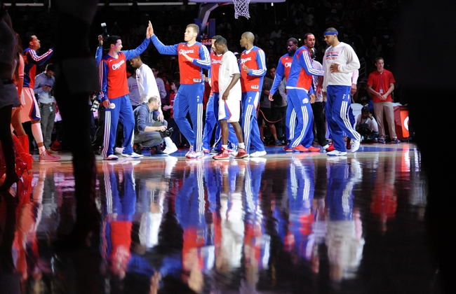 Apr 12, 2014; Los Angeles, CA, USA; Los Angeles Clippers forward Blake Griffin (32) is introduced before the game against the Sacramento Kings at Staples Center. Mandatory Credit: Kelvin Kuo-USA TODAY Sports