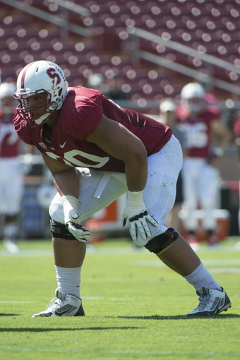 April 12, 2014; Stanford, CA, USA; Stanford Cardinal offensive tackle Andrus Peat (70) during the spring game at Stanford Stadium. Mandatory Credit: Kyle Terada-USA TODAY Sports