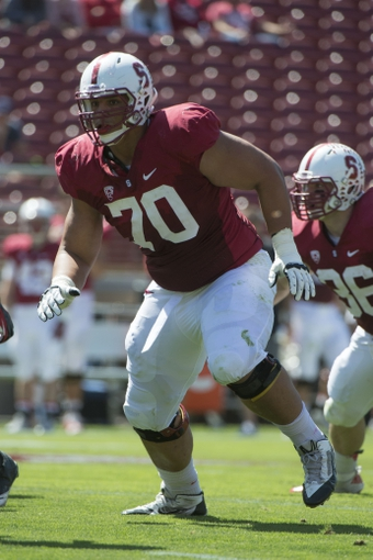 April 12, 2014; Stanford, CA, USA; Stanford Cardinal offensive tackle Andrus Peat (70) blocks during the spring game at Stanford Stadium. Mandatory Credit: Kyle Terada-USA TODAY Sports