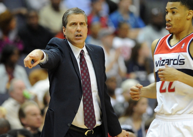 Apr 12, 2014; Washington, DC, USA; Washington Wizards head coach Randy Whitman gestures against the Milwaukee Bucks during the first half at Verizon Center. Mandatory Credit: Brad Mills-USA TODAY Sports