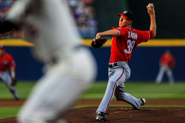 Apr 12, 2014; Atlanta, GA, USA; Washington Nationals starting pitcher Taylor Jordan (38) pitches in the first inning against the Atlanta Braves at Turner Field. Mandatory Credit: Daniel Shirey-USA TODAY Sports