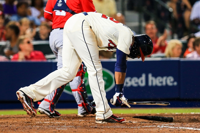 Apr 12, 2014; Atlanta, GA, USA; Atlanta Braves right fielder Jason Heyward (22) reacts to striking out with the bases loaded in the fifth inning against the Washington Nationals at Turner Field. Mandatory Credit: Daniel Shirey-USA TODAY Sports