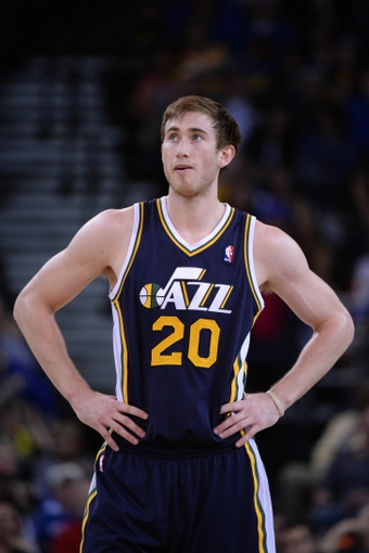 Apr 6, 2014; Oakland, CA, USA; Utah Jazz guard Gordon Hayward (20) looks on against the Golden State Warriors during the third quarter at Oracle Arena. The Warriors defeated the Jazz 130-102. Mandatory Credit: Kyle Terada-USA TODAY Sports