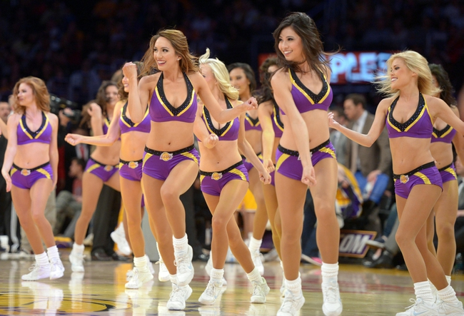 Apr 8, 2014; Los Angeles, CA, USA; Los Angeles Lakers girls cheerleaders perform during the game against the Houston Rockets at Staples Center. Mandatory Credit: Kirby Lee-USA TODAY Sports