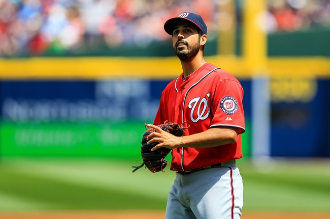 Apr 13, 2014; Atlanta, GA, USA; Washington Nationals starting pitcher Gio Gonzalez (47) reacts after giving up a run in the second inning against the Atlanta Braves at Turner Field. Mandatory Credit: Daniel Shirey-USA TODAY Sports