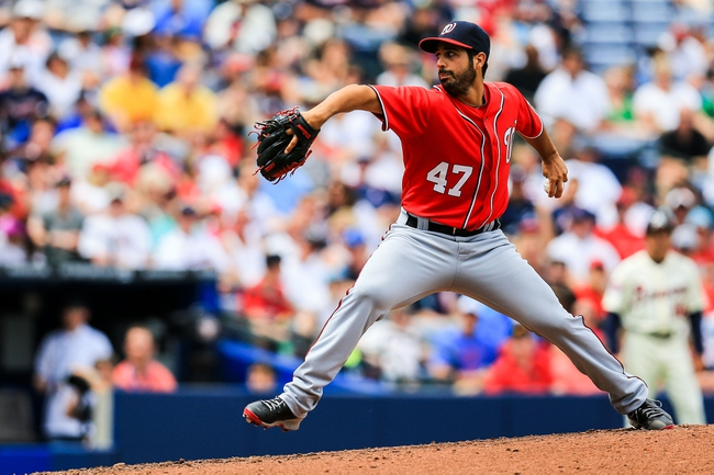 Apr 13, 2014; Atlanta, GA, USA; Washington Nationals starting pitcher Gio Gonzalez (47) pitches in the fourth inning against the Atlanta Braves at Turner Field. Mandatory Credit: Daniel Shirey-USA TODAY Sports