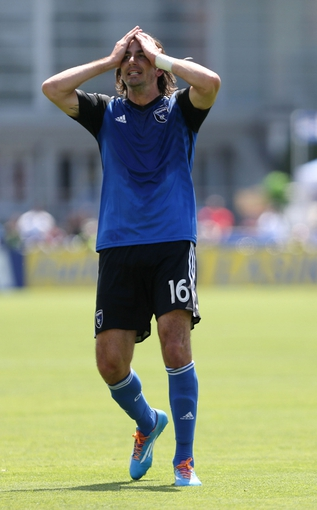 Apr 13, 2014; Santa Clara, CA, USA; San Jose Earthquakes forward Alan Gordon (16) reacts after missing a shot on goal against the Columbus Crew during the first half at Buck Shaw Stadium. Mandatory Credit: Kelley L Cox-USA TODAY Sports