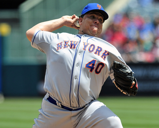 April 13, 2014; Anaheim, CA, USA; New York Mets starting pitcher Bartolo Colon (40) pitches the first inning against the Los Angeles Angels at Angel Stadium of Anaheim. Mandatory Credit: Gary A. Vasquez-USA TODAY Sports