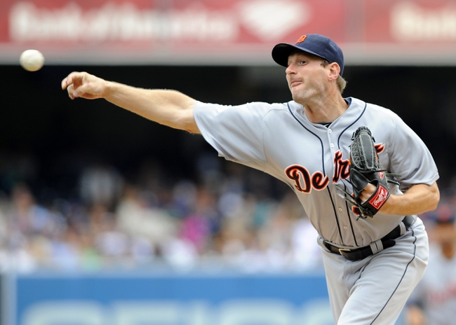 Apr 13, 2014; San Diego, CA, USA; Detroit Tigers starting pitcher Max Scherzer (37) throws during the first inning against the San Diego Padres at Petco Park. Mandatory Credit: Christopher Hanewinckel-USA TODAY Sports