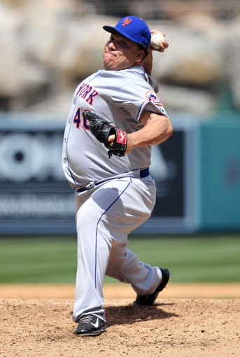 April 13, 2014; Anaheim, CA, USA; New York Mets starting pitcher Bartolo Colon (40) pitches the fifth inning against the Los Angeles Angels at Angel Stadium of Anaheim. Mandatory Credit: Gary A. Vasquez-USA TODAY Sports