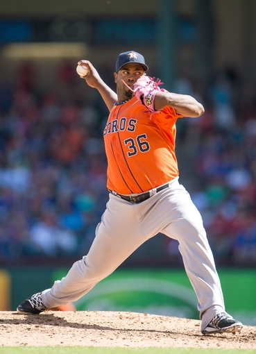 Apr 13, 2014; Arlington, TX, USA; Houston Astros starting pitcher Jerome Williams (36) pitches in relief during the eighth inning against the Texas Rangers at Globe Life Park in Arlington. The Rangers shut out the Astros 1-0. Mandatory Credit: Jerome Miron-USA TODAY Sports