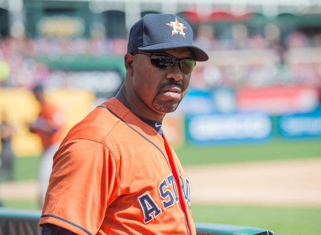 Apr 13, 2014; Arlington, TX, USA; Houston Astros manager Bo Porter (16) watches his team take on the Texas Rangers at Globe Life Park in Arlington. The Rangers won 1-0. Mandatory Credit: Jerome Miron-USA TODAY Sports
