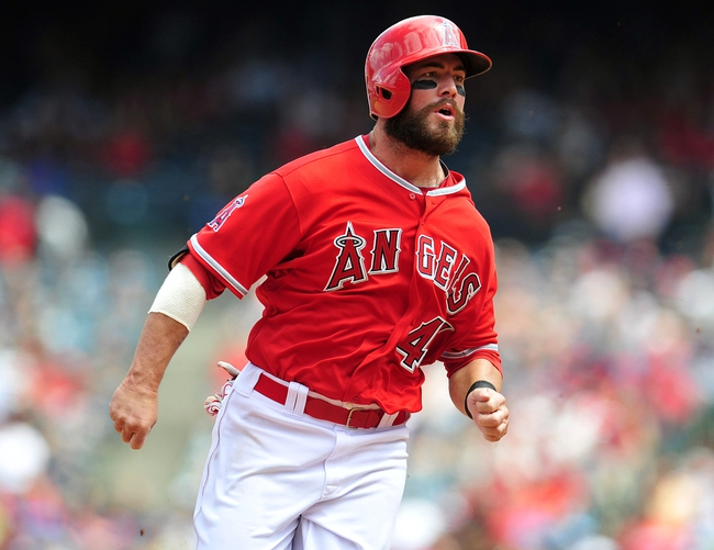 April 13, 2014; Anaheim, CA, USA; Los Angeles Angels first baseman Ian Stewart (44) runs to third during the fourth inning against the New York Mets at Angel Stadium of Anaheim. Mandatory Credit: Gary A. Vasquez-USA TODAY Sports