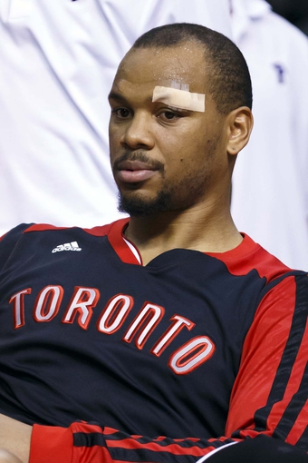 Apr 13, 2014; Auburn Hills, MI, USA; Toronto Raptors forward Chuck Hayes (44) sits on the bench in the fourth quarter against the Detroit Pistons at The Palace of Auburn Hills. Mandatory Credit: Rick Osentoski-USA TODAY Sports