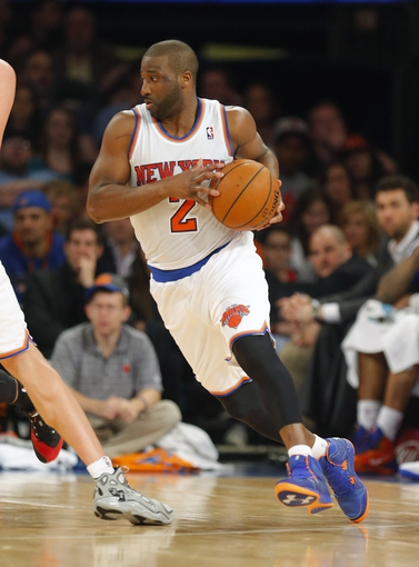 Apr 13, 2014; New York, NY, USA;  New York Knicks guard Raymond Felton (2) handles the ball during the first half against the Chicago Bulls at Madison Square Garden. Mandatory Credit: Jim O'Connor-USA TODAY Sports