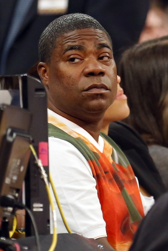 Apr 13, 2014; New York, NY, USA;  Actor and comedian Tracy Morgan court side during game between the New York Knicks and the Chicago Bulls at Madison Square Garden. Mandatory Credit: Jim O'Connor-USA TODAY Sports