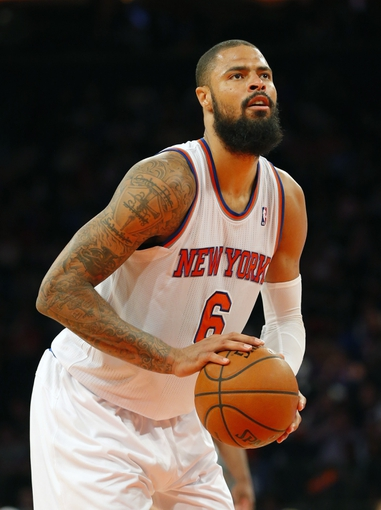 Apr 13, 2014; New York, NY, USA;  New York Knicks center Tyson Chandler (6) on the foul line during the second half against the Chicago Bulls at Madison Square Garden. New York Knicks defeat the Chicago Bulls 100-89. Mandatory Credit: Jim O'Connor-USA TODAY Sports