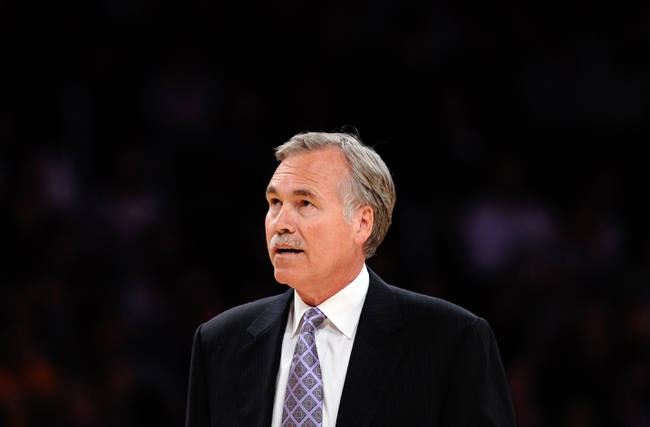 Apr 13, 2014; Los Angeles, CA, USA; Los Angeles Lakers head coach Mike D'Antoni during a time-out against the Memphis Grizzlies at Staples Center. Mandatory Credit: Robert Hanashiro-USA TODAY Sports