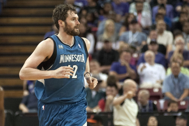 Apr 13, 2014; Sacramento, CA, USA; Minnesota Timberwolves forward Kevin Love (42) runs up the court after scoring against the Sacramento Kings during the first quarter at Sleep Train Arena. The Sacramento Kings defeated the Minnesota Timberwolves 106-103. Mandatory Credit: Ed Szczepanski-USA TODAY Sports
