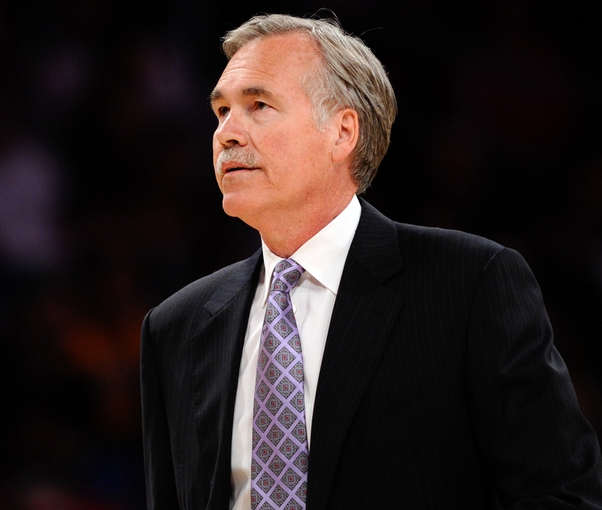 Apr 13, 2014; Los Angeles, CA, USA;  Los Angeles Lakers head coach Mike D'Antoni during a timeout against the Memphis Grizzlies at Staples Center. Mandatory Credit: Robert Hanashiro-USA TODAY Sports