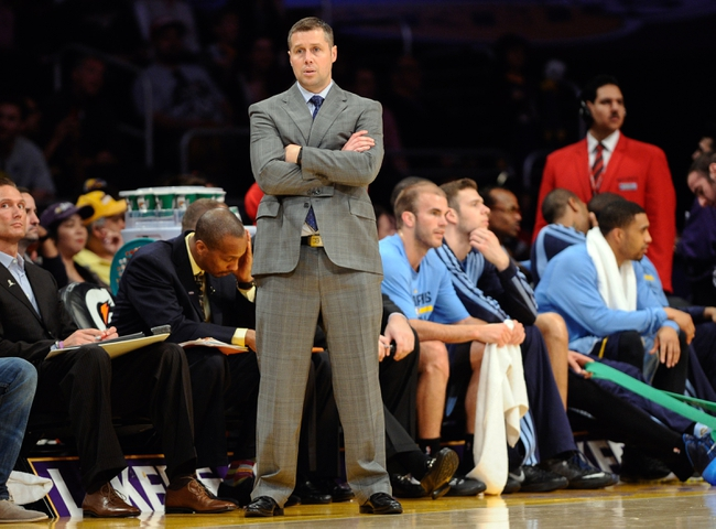 Apr 13, 2014; Los Angeles, CA, USA;  Memphis Grizzlies head coach David Joerger during the second quarter against the Los Angeles Lakers at Staples Center. Mandatory Credit: Robert Hanashiro-USA TODAY Sports