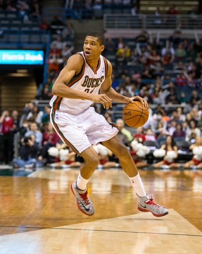 Apr 5, 2014; Milwaukee, WI, USA; Milwaukee Bucks guard Giannis Antetokounmpo (34) during the game against the Toronto Raptors at BMO Harris Bradley Center.  Toronto won 102-98.  Mandatory Credit: Jeff Hanisch-USA TODAY Sports