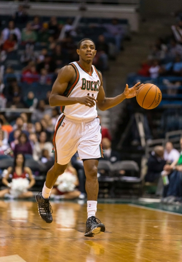 Apr 5, 2014; Milwaukee, WI, USA; Milwaukee Bucks guard Brandon Knight (11) during the game against the Toronto Raptors at BMO Harris Bradley Center.  Toronto won 102-98.  Mandatory Credit: Jeff Hanisch-USA TODAY Sports