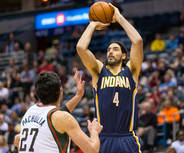 Apr 9, 2014; Milwaukee, WI, USA; Indiana Pacers forward Luis Scola (4) during the game against the Milwaukee Bucks at BMO Harris Bradley Center.  Indiana won 104-102.  Mandatory Credit: Jeff Hanisch-USA TODAY Sports