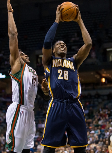 Apr 9, 2014; Milwaukee, WI, USA; Indiana Pacers center Ian Mahinmi (28) during the game against the Milwaukee Bucks at BMO Harris Bradley Center.  Indiana won 104-102.  Mandatory Credit: Jeff Hanisch-USA TODAY Sports