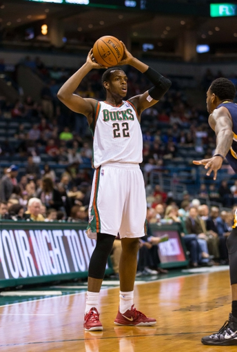 Apr 9, 2014; Milwaukee, WI, USA; Milwaukee Bucks forward Khris Middleton (22) during the game against the Indiana Pacers at BMO Harris Bradley Center.  Indiana won 104-102.  Mandatory Credit: Jeff Hanisch-USA TODAY Sports