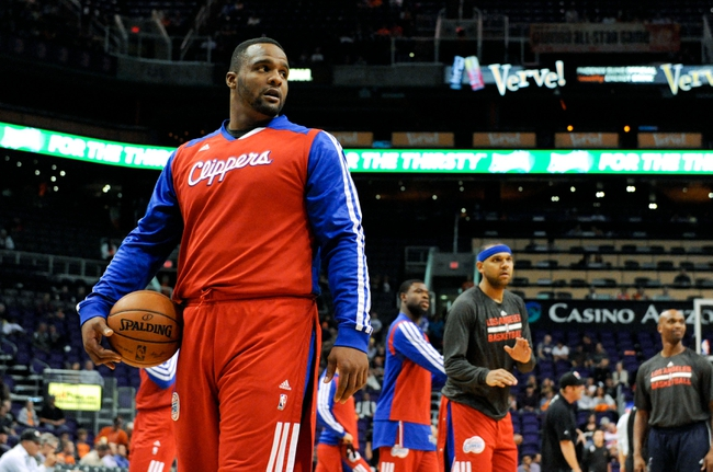 Apr 2, 2014; Phoenix, AZ, USA; Los Angeles Clippers forward Glen Davis (0) warms up before the first quarter against the Phoenix Suns at US Airways Center. The Clippers won 112-108. Mandatory Credit: Casey Sapio-USA TODAY Sports