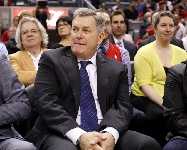 Apr 14, 2014; Toronto, Ontario, CAN; Maple Leaf Sports and Entertainment CEO and president Tim Leiweke during a break in the action of a game between the Toronto Raptors and Milwaukee Bucks at the Air Canada Centre. Mandatory Credit: John E. Sokolowski-USA TODAY Sports
