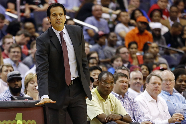 Apr 14, 2014; Washington, DC, USA; Miami Heat head coach Erik Spoelstra gestures from the sidelines against the Washington Wizards in the fourth quarter at Verizon Center. The Wizards won 114-93. Mandatory Credit: Geoff Burke-USA TODAY Sports