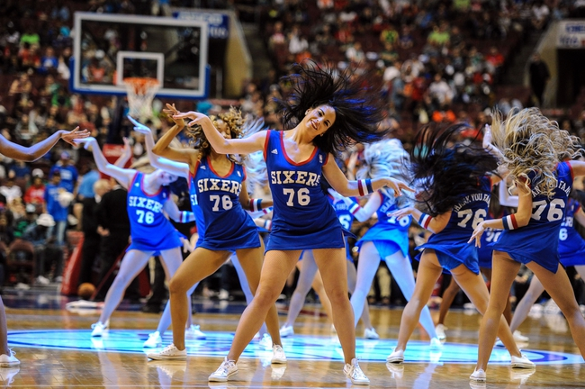 Apr 14, 2014; Philadelphia, PA, USA; Philadelphia 76ers cheerleaders perform during a timeout in the third quarter of the game against the Boston Celtics at Wells Fargo Center. Mandatory Credit: John Geliebter-USA TODAY Sports