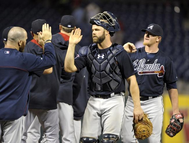 Apr 14, 2014; Philadelphia, PA, USA; Atlanta Braves catcher Evan Gattis (24) celebrates win over Philadelphia Phillies at Citizens Bank Park. The Braves defeated the Phillies, 9-6. Mandatory Credit: Eric Hartline-USA TODAY Sports