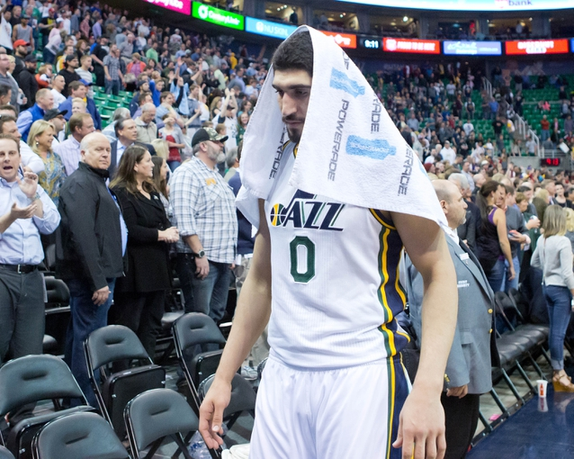 Apr 14, 2014; Salt Lake City, UT, USA; Utah Jazz center Enes Kanter (0) leaves the court after losing to the