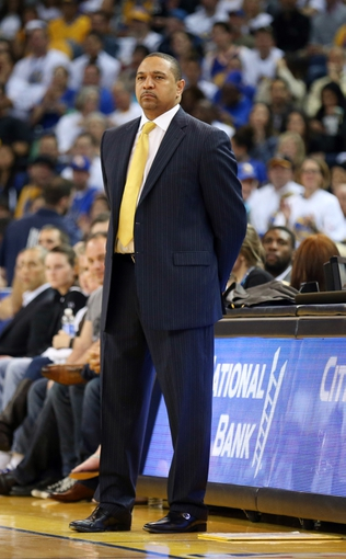 Apr 14, 2014; Oakland, CA, USA; Golden State Warriors head coach Mark Jackson on the sideline during the second quarter against the Minnesota Timberwolves at Oracle Arena. Mandatory Credit: Kelley L Cox-USA TODAY Sports