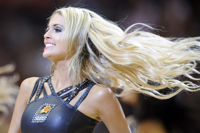 Apr 14, 2014; Phoenix, AZ, USA; The Phoenix Suns Dancers perform against the Memphis Grizzlies during the second half at US Airways Center. The Grizzlies won 97-91. Mandatory Credit: Joe Camporeale-USA TODAY Sports