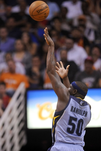 Apr 14, 2014; Phoenix, AZ, USA; Memphis Grizzlies forward Zach Randolph (50) shoots against the Phoenix Suns during the first half at US Airways Center. The Grizzlies won 97-91. Mandatory Credit: Joe Camporeale-USA TODAY Sports