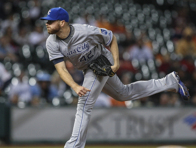 Apr 15, 2014; Houston, TX, USA; Kansas City Royals pitcher Wade Davis works during the eighth inning against the Houston Astros at Minute Maid Park. Mandatory Credit: Troy Taormina-USA TODAY Sports