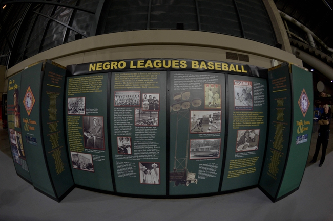 Apr 15, 2014; Phoenix, AZ, USA; A display commemorating the Negro Leagues sits in right field during the game between the Arizona Diamondbacks and the New York Mets  at Chase Field. Mandatory Credit: Matt Kartozian-USA TODAY Sports