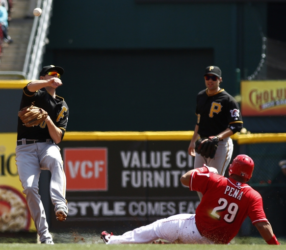 Apr 16, 2014; Cincinnati, OH, USA; Pittsburgh Pirates shortstop Jordy Mercer (10) throws to first after Cincinnati Reds catcher Brayan Pena (29) was forced out at second base during the second inning at Great American Ball Park. Mandatory Credit: David Kohl-USA TODAY Sports