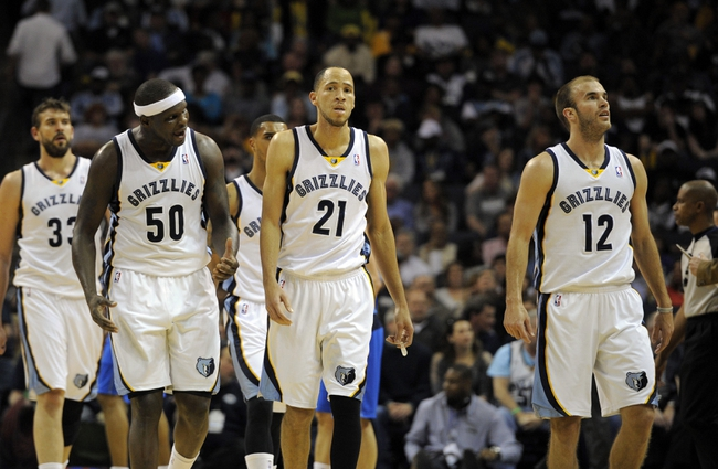 Apr 16, 2014; Memphis, TN, USA; Memphis Grizzlies forward Zach Randolph (50) Memphis Grizzlies forward Tayshaun Prince (21) and Memphis Grizzlies guard Nick Calathes (12) during the game against the Dallas Mavericks at FedExForum. Mandatory Credit: Justin Ford-USA TODAY Sports