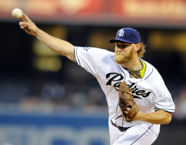 Apr 16, 2014; San Diego, CA, USA; San Diego Padres starting pitcher Andrew Cashner (34) throws during the first inning against the Colorado Rockies at Petco Park. Mandatory Credit: Christopher Hanewinckel-USA TODAY Sports